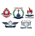 Volleyball game sporting heraldic emblems vector image