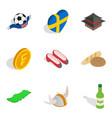 fatherland icons set isometric style vector image