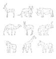 Geometric animals silhouettes vector image
