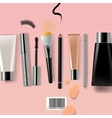 Makeup brush and cosmetics vector image
