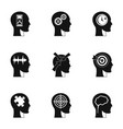 man head with sign icons set simple style vector image