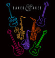 saxes and axes in neon colors on black vector image