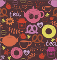 Tea pot and sweets seamless pattern vector image