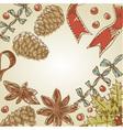 Christmas hand drawn ink retro postcard vector image vector image