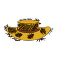 white background of old straw hat with thick vector image