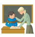 Teacher helps a boy in classroom to resolve tasks vector image