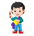 boy holding pencil vector image