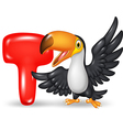 Cartoon of T letter for Toucan vector image