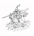 medieval spear knight on horse ink vector image