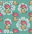 seamless pattern dog in funny hat vector image