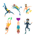 set of cartoon characters underwater divers vector image