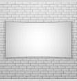 white movie screen or banner on white brick wall vector image
