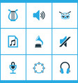 audio colored icons set collection of drum vector image