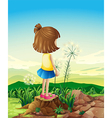 A child standing above the stump while sightseeing vector image