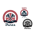 Darts emblems with arrows and dartboard vector image