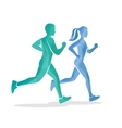 Running man and woman silhouettes vector image