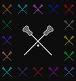 Lacrosse Sticks crossed icon sign Lots of colorful vector image