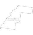 Black White Western Sahara Outline Map vector image vector image
