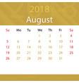 august 2018 calendar popular premium for business vector image