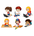 Children using computer and tablet vector image