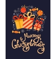 Christmas greeting card with gifts vector image
