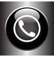 Phone handset icon on black glass button vector image
