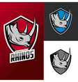 Rhino mascots set for sport teams vector image