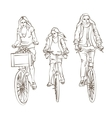 Sketch of Bicycling Family vector image