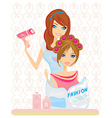 woman has dried hair in a beauty salon vector image