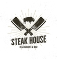 Steak House vintage Label Typography letterpress vector image