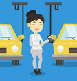 worker controlling automated assembly line for car vector image