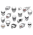 Collection of Halloween and horror skulls vector image vector image