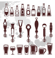 beer and bar icons vector image