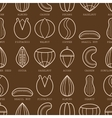 Flat linear icons of different nuts Seamless vector image