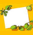 autumn banner fall season frame with chestnuts vector image
