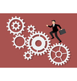Businessman running on mechanism system vector image