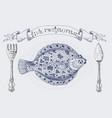 fish restaurant banner with flatfish vector image