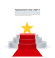 podium star with red carpet vector image