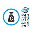 Euro Money Bag Flat Icon with Bonus vector image