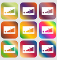 Volume adjustment icon Nine buttons with bright vector image