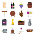 wine icons set in flat style vector image