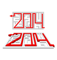 Red arrow in the labyrinth as a number 2014 vector image vector image