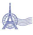 Grunge round stamp with Eiffel Tower vector image