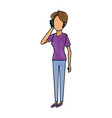 cartoon woman talking smartphone standing people vector image