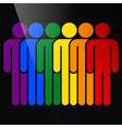 Color logotype six man LGBT movement rainbow flag vector image