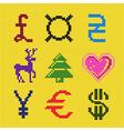 Cross embroidery pixel art currency scheme vector image