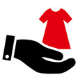 lady dress offer hand icon vector image