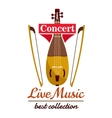 Violin with bows Concert live music emblem vector image vector image