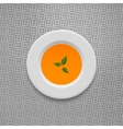 Cream soup in pumpkin design background vector image