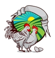 Farm emblem for organic production Label with Hen vector image